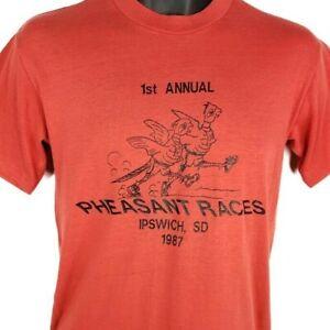 Pheasant Races T Shirt Vintage 80s 1987 Ipswich South Dakota Made In USA Large