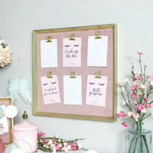 Gold & Pink Furry Memo Board Large photograph notice kitchen office gift luxury