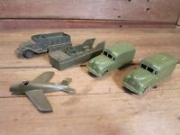 VINTAGE LOT ARMY MILITARY PLAY SET VEHICLES LOT AIRPLANE AMBULANCE