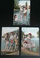 Vintage Postcard - Rare Vintage Postcard - Women in Swimsuits- c.1910
