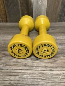 Vintage From The World Of Weider Pair 5lb Barbell Dumbbells Rubber Coated