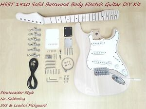 HSST 1910MF Solid Basswood Body Electric Guitar DIY, No-Soldering, SSS Pickups