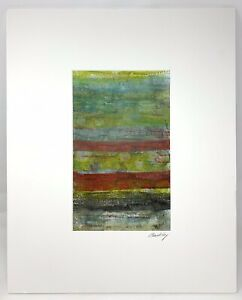 Original~Artisan Barbara Barkley~Encaustic Monotype~Matted~Signed~Free Shipping