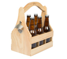 New listing New Wooden Bottle Caddy W/Built in Bottle Opener Great Gift Removable Inserts