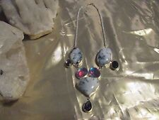 BEAUTIFUL NEW DENDRITIC OPAL RAINBOW TOPAZ AMETHYST HANDCRAF NECKLACE  NECKLACE
