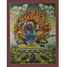 "Tibetan Buddhist 26.5""x20.5"" Vajrapani Thangka Painting"