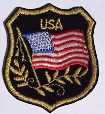 USA Flag (Set of 3) With Gold Metallic Thread Trimming On Black Velvet Patch