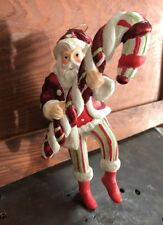 Santa Claus With Candy Cane Father Christmas Tree Ornament Resin