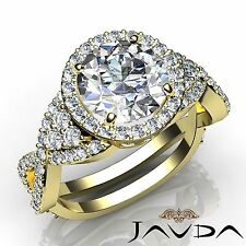 Round Diamond Engagement GIA I VS2 18k Yellow Gold Vintage Halo Pave Ring 3.16ct