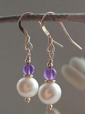 White Freshwater Pearls & Amethyst Gemstones 14ct Rolled Gold Earrings