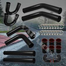 DIY 8 PCS BLACK ALUMINUM PIPING + BLACK COUPLER + T-BOLT CLAMPS w/ U Bend PipeS