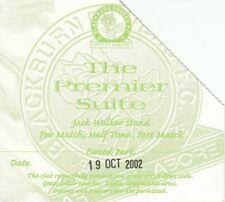 Ticket - Blackburn Rovers v Newcastle United 19.10.02 Premier Suite