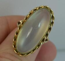 Huge Impressive Moonstone Agate 9ct Gold Statement Solitaire Ring f0441