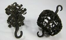 Pair Black Curled Metal Baubles with Hooks