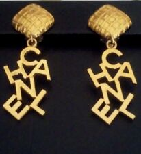 AUTHENTIC VINTAGE XL CHANEL EARRINGS CC LOGO GOLD TONE DANGLE CLIP-ON