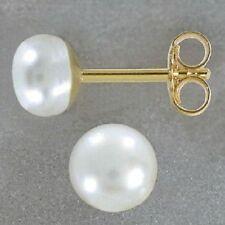 Echt 333 Gold Ohrstecker Stecker Süßwasserperle Perle Perlenohrstecker weiß