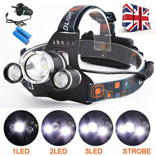 Led Headlight Headlamp Head Torch 8000LM 3x Cree XML T6 Rechargeable Zoomable