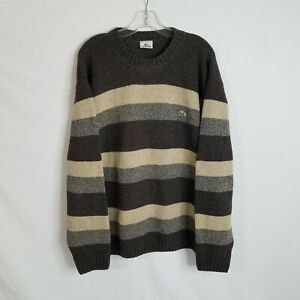 Lacoste Mens Brown Beige Striped Wool Blend Knit Pullover Sweater Size 7 2XL