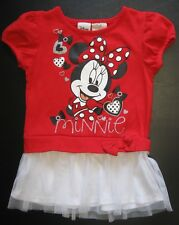 DISNEY Minnie Mouse Cap Sleeve Dress Red Bow Hearts Netting Overlay Skirt 42:DD9