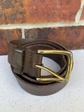 """EDDIE BAUER Brown Genuine Leather Men's Belt Size 36"""" Gold Brass Buckle"""