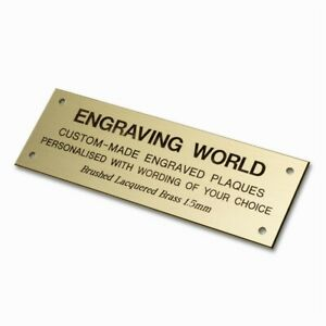 80mm x 26mm Lacquered Brass Personalised Engraved Plaque Sign