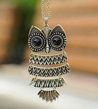 Korean jewelry pendant cute retro realistic owl long necklace sweater chain11