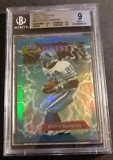 1995 BARRY SANDERS TOPPS FINEST BOOSTER REFRACTOR #B166 BGS 9 MINT W/2 9.5'S