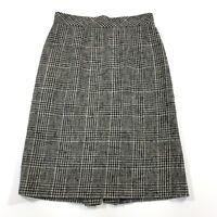Vintage Talbots Petite Women's Pencil Skirt Wool Gray Plaid Size 4P