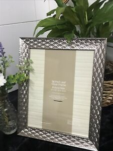 New 8x10 Silver Glamorous Etched Leaf Photo Frame Gift
