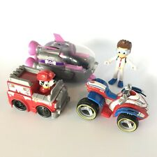 Paw Patrol Lot 3 Vehicles Fire Truck Marshall Racers Ship ATV W/ Ryder Figure