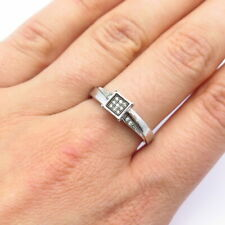 925 Sterling Silver Pave C Z Ring Size 8