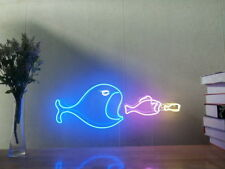 New Big Fish Eat Small Fish Neon Sign For Bedroom Wall Decor Artwork With Dimmer
