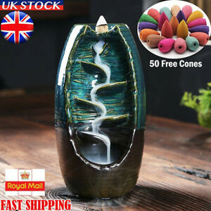 Blue Mountain River Ceramic Backflow Waterfall Insence Burners + 50 Free Cones