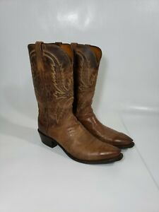 Men's LUCCHESE 1883 Brown LEATHER Cowboy BOOTS sz 11.5  D