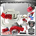 DIY Combo RED GT35 Turbo Kits /PSI BOOST UNIVERSAL INTERCOOLER/PIPING/BOV/TURBO