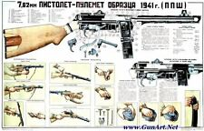Color POSTER Of Soviet Russian 7.62x25 PPSh-41 Submachine Gun Manual BUY NOW!
