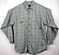 Patagonia Men's Shirt XL Long Sleeve Button Up Gray/Blue Plaid Organic Cotton