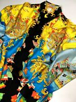 GIANNI VERSACE VINTAGE '93 100% SILK PRINTED SHIRT MEN GLORY VICTORY FLAGS ITALY