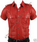 LEATHER RED/ RED & BLACK MENS POLICE MILITARY UNIFORM SHIRT BLUF PATCH KN2-LARGE