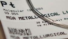 "Pure PLATINUM Pt Metal Element Wire Dia. 0.016"" (0.4mm) - 99.95% Flame Reaction"