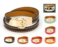 Women Genuine Leather Wrap Bracelet Designer Inspired Bangle Cuff Wristband Lady