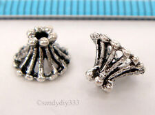 4x OXIDIZED STERLING SILVER BASKET DAISY CONE BEAD CAP 8mm #299