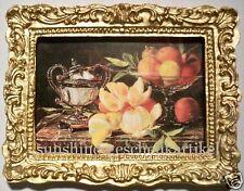 1:12 - Miniatur - Stilleben - Bild  in feinem Goldrahmen - Puppenhaus