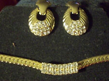 Vintage Gold Tn Thick Herringbone Chain Necklace Rhinetones Pierced Earrings Set