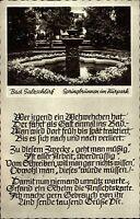 Bad Salzschlirf  Ansichtskarte 1963 gelaufen Partie am Springbrunnen im Kurpark