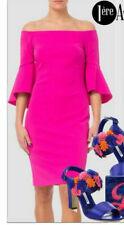 Joseph Ribkoff Pink Bell Sleeve Off Shoulder Cocktail Dress Size UK 12 RRP £245