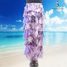 SHARON TANG Modest Apparel  Long Chiffon Purple Ruffle Layer Skirt  S