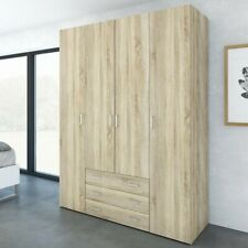 Compass Wardrobe with 4 Doors and 3 Drawers - Oak