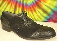 8 C mens vtg 30s black lizard BOSTONIAN Hand Shoemakers wing tip oxfords shoes