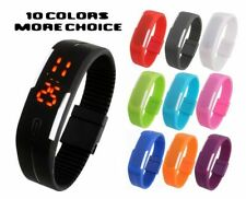 UNISEX WATERPROOF SILICONE LED TOUCH DIGITAL BRACELET WRIST WATCH ~ MANY COLOR!